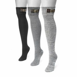 Muk Luks Buckle Over the Knee Socks Set of 3